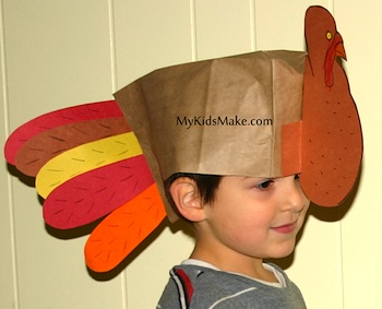 My Kids Make...paper bag turkey hat