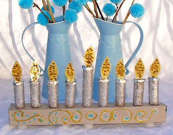 Creative Jewish Mom glittery kid's menorah