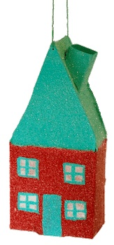 CC10 home sweet home glitter house red ornament