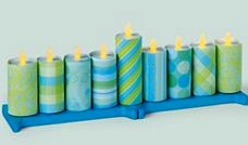 Dollar Store Crafts electric tealight menorah