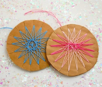 CC10 woven cookie stars finished pink blue