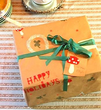 Green Submarine handmade gift wrap