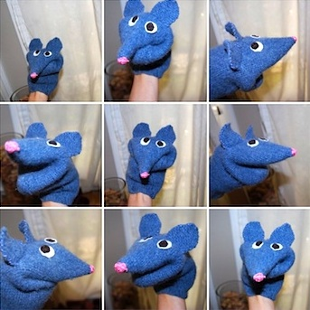 Amber Dusick sweater mouse puppet