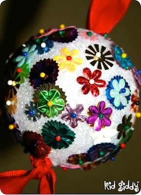 Kid Giddy sequin ball ornament