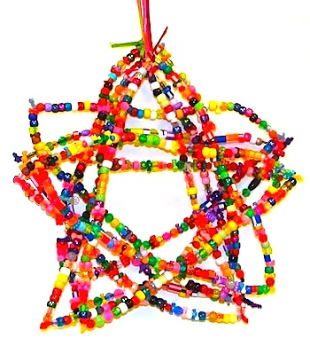 Mrs. Picasso's beaded star ornaments