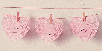 Pearlie Pink doily heart faces