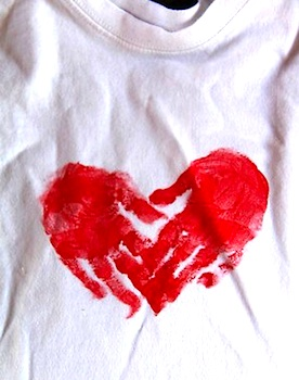 Chasing Cheerios handprint heart shirt