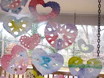 The Artful Parent coffee filter hearts