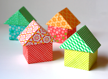 How About Orange origami houses