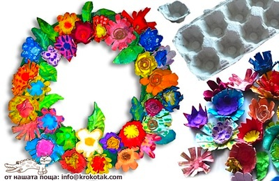 Krokotak egg carton flower wreath