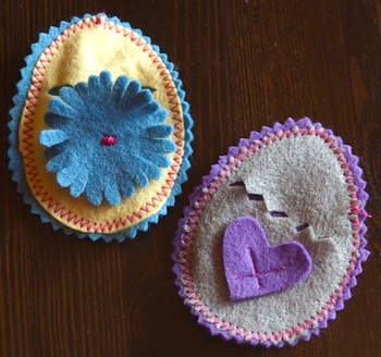 Clean felt easter eggs