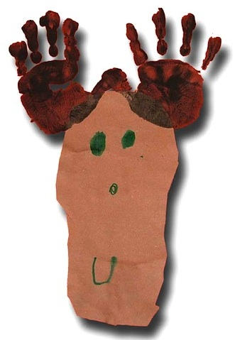 Paper Crafts For Kids hand and foot print reindeer