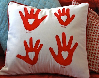 A Little Great heart in hand pillow
