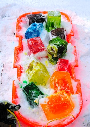 Pepper Paints ice blocks for outdoor play