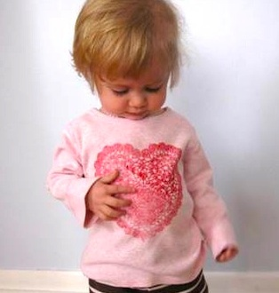 The Artful Parent doily heart stencil shirts