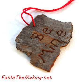 Fun In The Making carved tree bark valentine