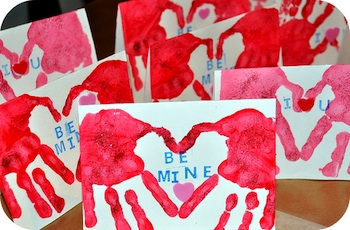 Rosy ~ Posy handprint heart cards