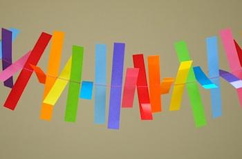 Mini-eco sewn paper garland