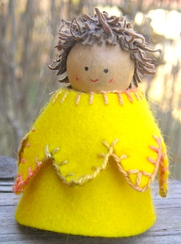 Morning Sun Rae daffodil root peg dolls
