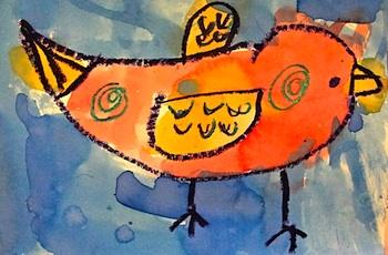 Deep Space Sparkle watercolor birds