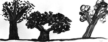 Deep Space Sparkle tree study art lesson