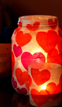 Homemade Serenity valentine votives