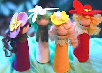 Rhythm & Rhyme spring flower peg dolls