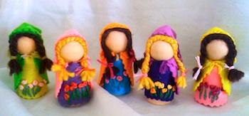 Wonderfully Crazy spring maiden peg dolls