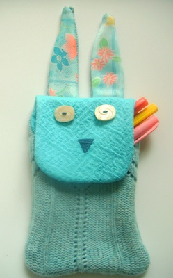 Sew Homegrown bunny pencil pouch