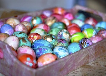 Aunt Peaches tissue paper and parsley eggs