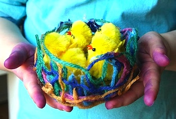 The Imagination Tree yarn and glue nest 1