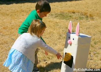 My Kids Make bunny bean bag toss game