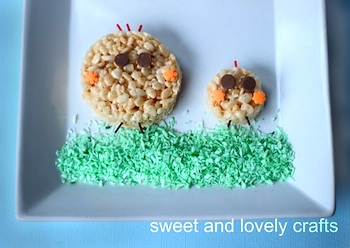 Sweet And Lovely Crafts rice krispie treat chicks