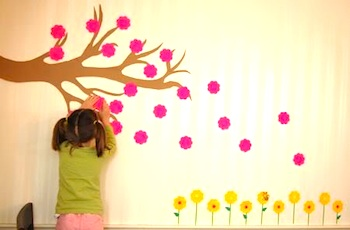 Frugal Family Fun spring post-it mural