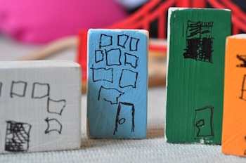 Lilla A painted blocks