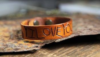 Lil Blue Boo carved leather bracelet