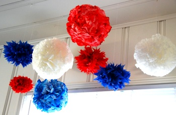 The Thrifty Crafter red white blue tissue paper pompoms