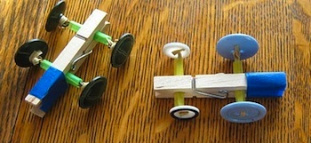 almost unschoolers clothespin button racers