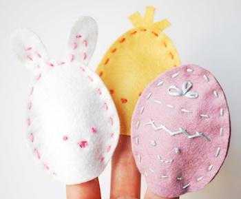 Wild Olive easter egg finger puppets