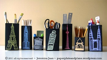 Paper, Plate, Plane milkbox chalkboard containers