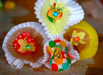 Aunt Peaches cupcake liner flowers