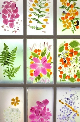 The Artful Parent flower petal stained glass