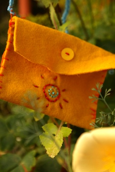 Scraps of Starlight embroidered felt pouch