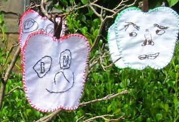 embroidered family apple faces