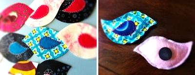 fabric scrap bird magnets