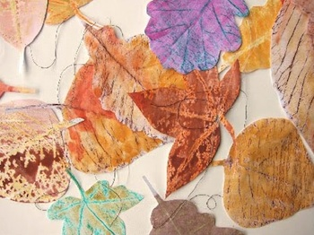 Vlijtig watercolored leaf rubbings