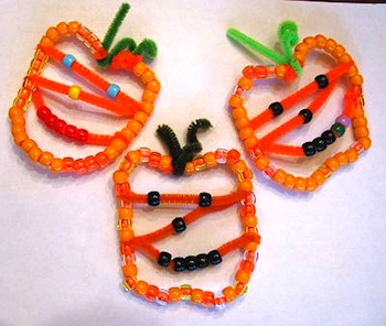 Naturally Educational beaded jack o'lantern ornaments