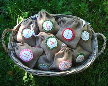 homemade advent calendar burlap bags