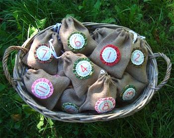 homemade advent calendar burlap bags