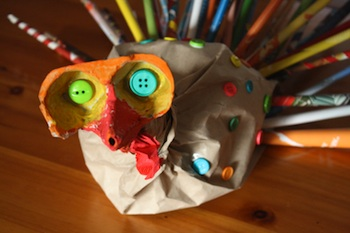 recycled paper turkey craft
